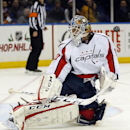 Washington Capitals goalie Braden Holtby (70) makes a save during the second period of an NHL hockey game against the New York Islanders in Uniondale, N.Y., Saturday, Nov. 30, 2013 The Associated Press