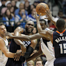 Charlotte Bobcats' Al Jefferson (25) is forced to pass the ball to Kemba Walker (15) as Dallas Mavericks' Jose Calderon, left, of Spain, and Samuel Dalembert, right rear, of Haiti defend in the second half of an NBA basketball game, Tuesday, Dec. 3, 2013,