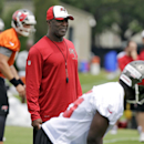 In this April 22, 2014, file phot, Tampa Bay Buccaneers head coach Lovie Smith, center, watches during NFL minicamp football in Tampa, Fla The Associated Press