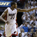 Miami Heat's James Jones (22) reacts after shooting a three-point basket during the second half in Game 1 of an opening-round NBA basketball playoff series against the Charlotte Bobcats, Sunday, April 20, 2014, in Miami. The Heat defeated the Bobcats 99-8