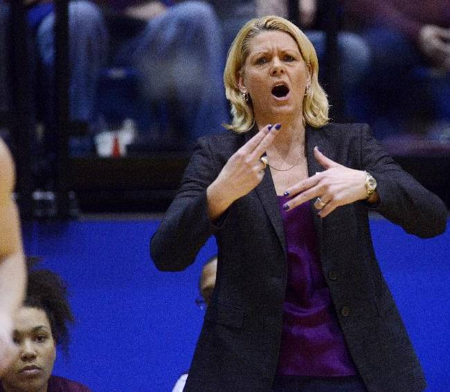 Minnesota head coach, Pam Borton leads her team as they play South Dakota State in Thursday's 3rd round WNIT basketball game at Frost Arena in Brookings, S.D. March 27, 2014. SDSU beat Minnesota 70-62