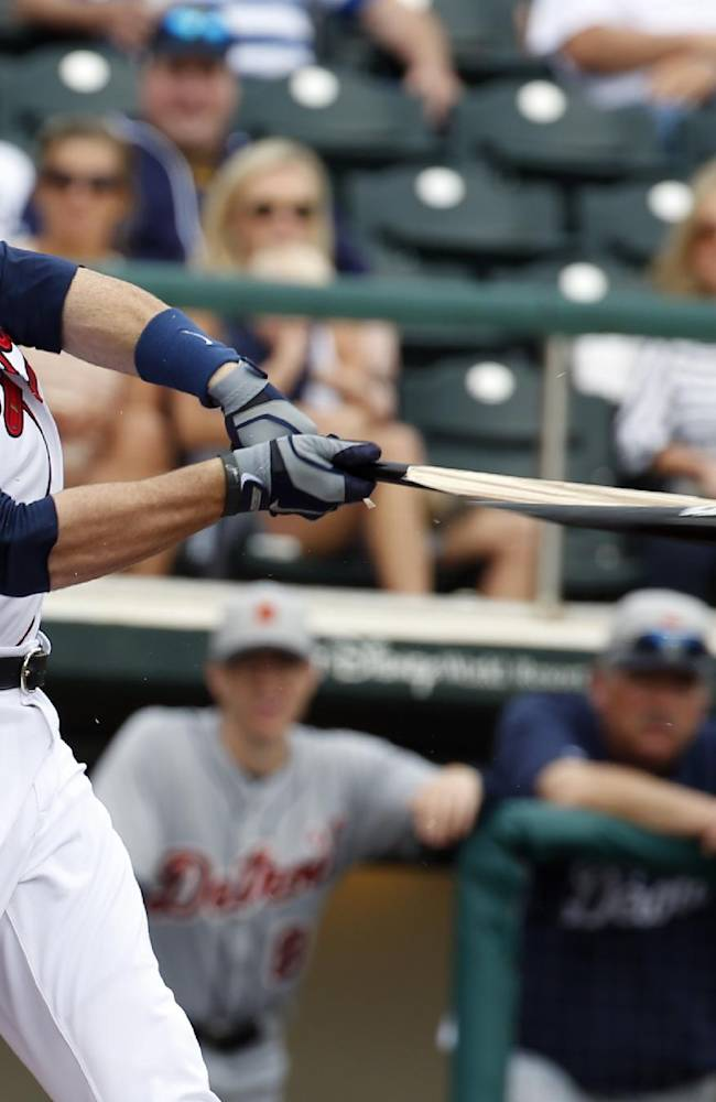 Atlanta Braves catcher Ryan Doumit breaks his bat in the second inning of a spring exhibition baseball game against the Detroit Tigers, Wednesday, Feb. 26, 2014, in Kissimmee, Fla.  Doumit was out on the ground ball