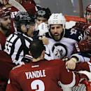 Winnipeg Jets right wing Chris Thorburn (22) talks to Arizona Coyotes defenseman Keith Yandle (3) in the second period during an NHL hockey game, Thursday, Jan. 8, 2015, in Glendale, Ariz The Associated Press