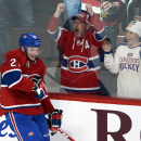 Montreal Canadiens center Alex Galchenyuk (27) celebrates after scoring his third goal of the game against the Carolina Hurricanes during the third period of an NHL hockey game Tuesday, Dec. 16, 2014, in Montreal The Associated Press