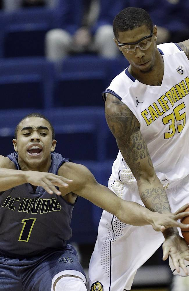 UC Irvine's Alex Young (1) battles against California 's Richard Solomon (35) during the first half on an NCAA college basketball game on Monday, Dec. 2, 2013, in Berkeley, Calif