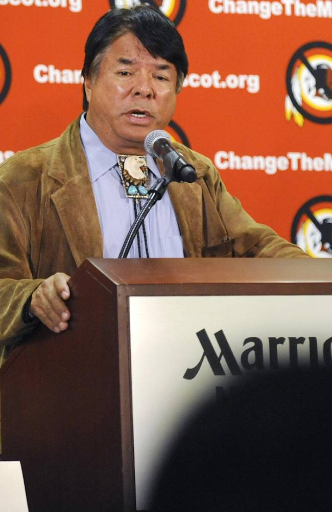 Oneida Indian Nation representative Ray Halbritter speaks during a news conference, Wednesday, Oct. 30, 2013, in New York. Representatives of the Oneida have requested a meeting with all 32 NFL owners during Super Bowl week, hoping to persuade them to get the Washington franchise to drop the nickname Redskins