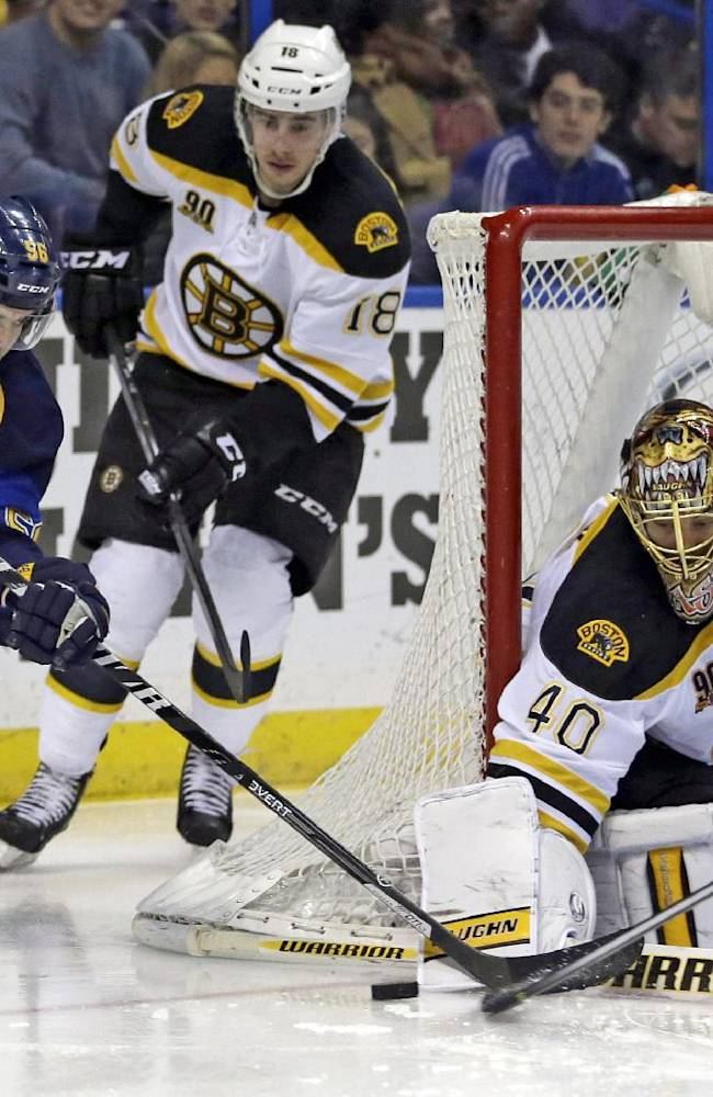 St. Louis Blues' Magnus Paajarvi, of Sweden, tries to get off a shot as Boston Bruins' Reilly Smith, center, and goalie Tuukka Rask, of Finland, defend during the second period of an NHL hockey game Thursday, Feb. 6, 2014, in St. Louis
