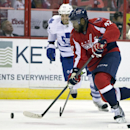 Toronto Maple Leafs right wing Troy Bodie, left, chases after Washington Capitals right wing Joel Ward during the second period of an NHL hockey game on Sunday, March 16, 2014, in Washington. The Capitals won 4-2 The Associated Press