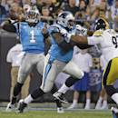 Carolina Panthers quarterback Cam Newton (1) throws a pass against the Pittsburgh Steelers during the first half of an NFL football game in Charlotte, N.C., Sunday, Sept. 21, 2014. (AP Photo/Bob Leverone)