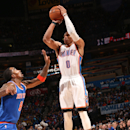 OKLAHOMA CITY, OK - NOVEMBER 28: Russell Westbrook #0 of the Oklahoma City Thunder takes a shot against the New York Knicks on November 28, 2014 in Oklahoma City, Oklahoma. (Photo by Layne Murdoch/NBAE via Getty Images)