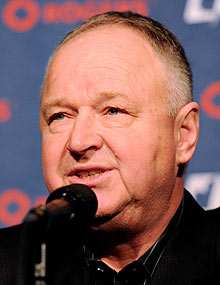 Randy Carlyle was all smiles when introduced to the media as Toronto's new coach on Saturday.