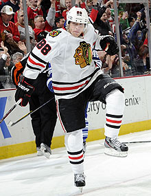 Patrick Kane is a right winger by trade, but he's spent some time at center for the 'Hawks this season.