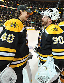 The Bruins are loaded up and down their roster, especially at the most important position with a goalie platoon of Tuukka Rask (L) and Tim Thomas (R).