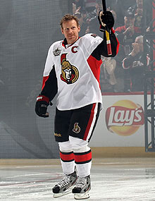 The understated Senators captain was welcomed onto the ice before the All-Star Skills Competition with chants of