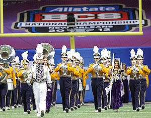 To play the BCS halftime show, the LSU band had to fork over $182,830 for tickets. (AP)
