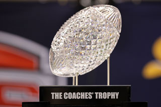 The BCS champion receives a trophy for finishing atop the final coaches' poll. (Getty Images)
