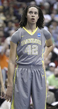 Baylor's Brittney Griner looks on during the first half of an NCAA women's tournament regional final college basketball game against Tennessee, Monday, March 26, 2012, in Des Moines, Iowa. All of Baylor's NCAA tournament wins this season have been by a double-digit margin.