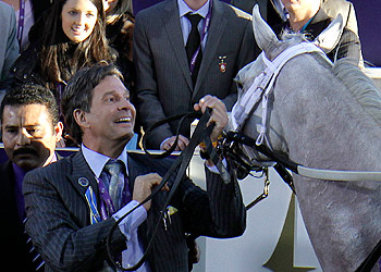 Kendall Hansen celebrates Hansen's win in the Juvenile race at the Breeders' Cup. (AP)