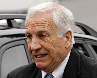 Jerry Sandusky arrives at the Centre County Courthouse on Tuesday. (AP)