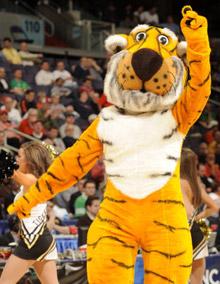 Missouri's mascot, Truman the Tiger, at the 2011 NCAA men's basketball tournament.