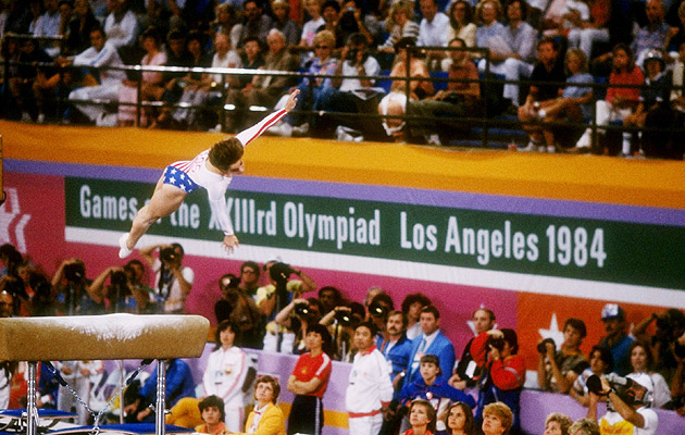 Mary Lou Retton launches off the vault on her way to Olympic gold in 1984. (Getty Images)