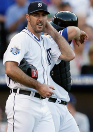 Justin Verlander struck out two in an otherwise messy inning. (AP)