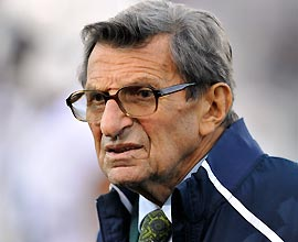 Penn State coach Joe Paterno watches the Nittany Lions beat Northwestern. Paterno tied Eddie Robinson for most wins by a Division I coach.