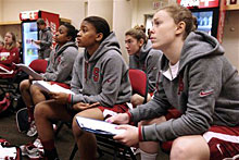 The Cardinal backcourt listens and looks over notes at the Fresno Regional.