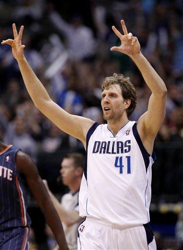 Dallas Mavericks' Dirk Nowitzki (41), Of Germany, Gestures