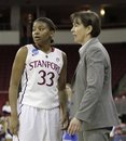 Stanford head coach Tara VanDerveer talks with guard Amber Orrange during the second half of an NCAA women's tournament regional final college basketball game, Monday, March 26, 2012, in Fresno, Calif. Stanford beat Duke 81-69 and is heading to the Final Four in Denver.