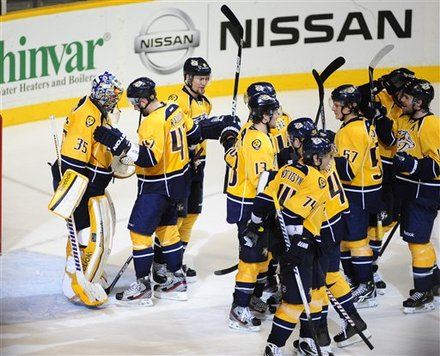 Nashville Predators Goalie Pekka Rinne (35), Of Finland, Is