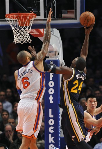 New York Knicks' Tyson Chandler (6) Blocks