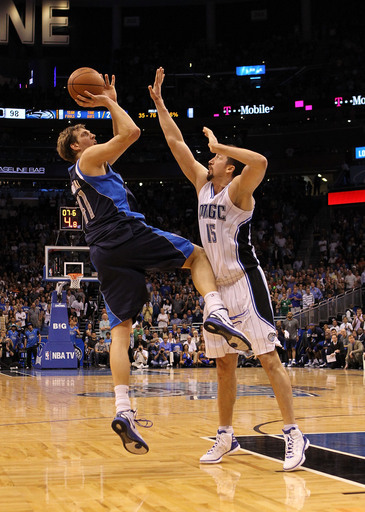 Dirk Nowitzki #41 Of The Dallas Mavericks Shoots