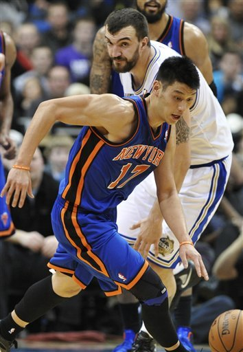 New York Knicks' Jeremy Lin, Front, Races