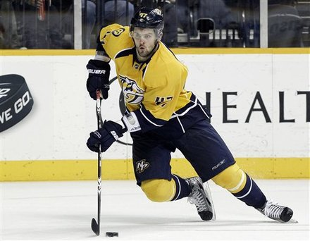 Nashville Predators Right Wing Alexander Radulov, Of Russia, Playing Against The Dallas Stars In The Second Period Of