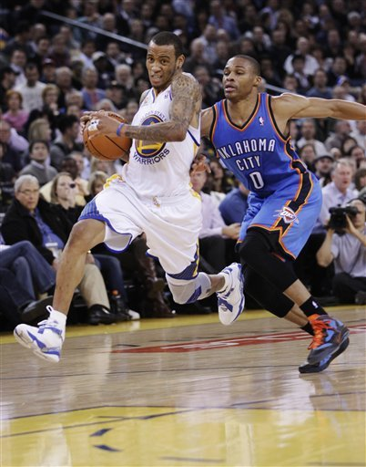 Golden State Warriors Shooting Guard Monta Ellis (8) Drives