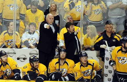 Nashville Predators Coach Barry Trotz, Left, Asks