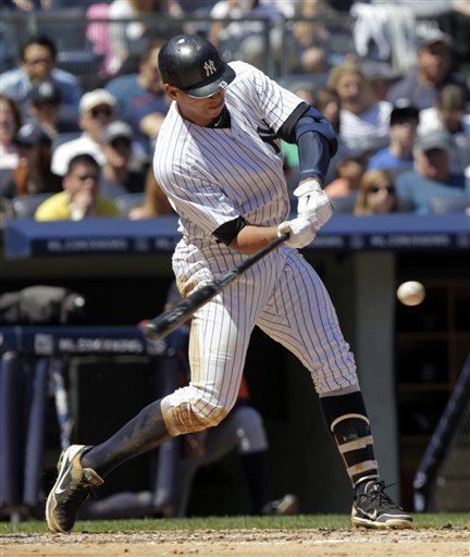New York Yankees' Alex Rodriguez Singles