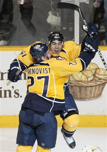 Nashville Predators Defenseman Francis Bouillon (51) Celebrates