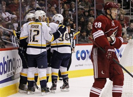 Nashville Predators' Martin Erat, Of The Czech Republic, Back Left, Celebrates His Goal Against The Phoenix Coyotes