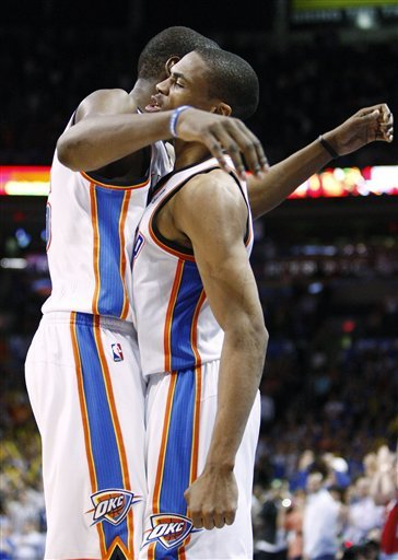 Oklahoma City Thunder Forward Kevin Durant, Left, And Russell Westbrook, Right, Celebrate