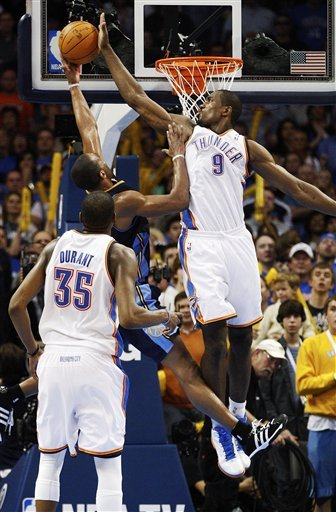 Oklahoma City Thunder Forward Serge Ibaka (9), Of Republic Of Congo, Blocks