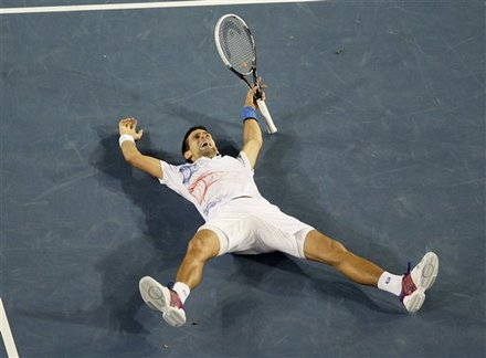 Novak Djokovic Of Serbia Celebrates