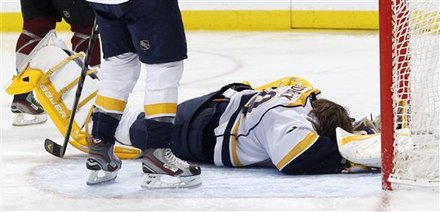 Nashville Predators Goalie Anders Lindback, Of Sweden, Reacts