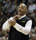 LSU basketball coach Trent Johnson gestures to his players in the first half of the NCAA college basketball game against Mississippi State in Starkville, Miss., Wednesday, Jan. 25, 2012. Number 18 Mississippi State won 76-71.