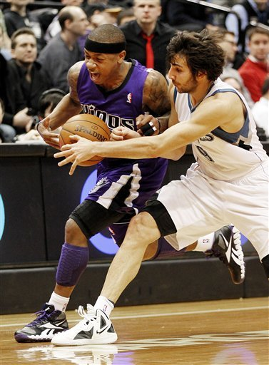 Minnesota Timberwolves Guard Ricky Rubio, Right, Fouls