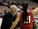 Ohio State coach Jim Foster talks to guard Samantha Prahalis during the first half of an NCAA college basketball game against Indiana in Bloomington, Ind., Thursday, Jan. 26, 2012. Ohio State won 73-55.
