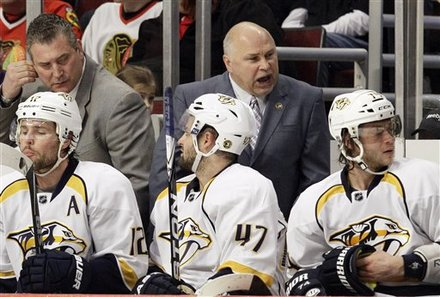 Nashville Predators Head Coach Barry Trotz, Top Right, Yells