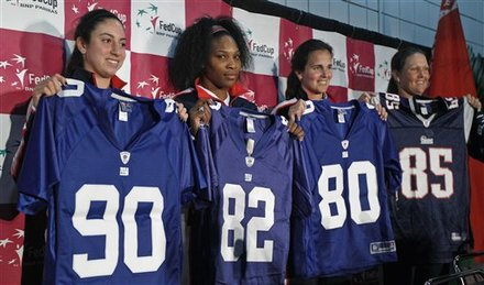 Members Of The US Fed Cup Team Pose With Jerseys