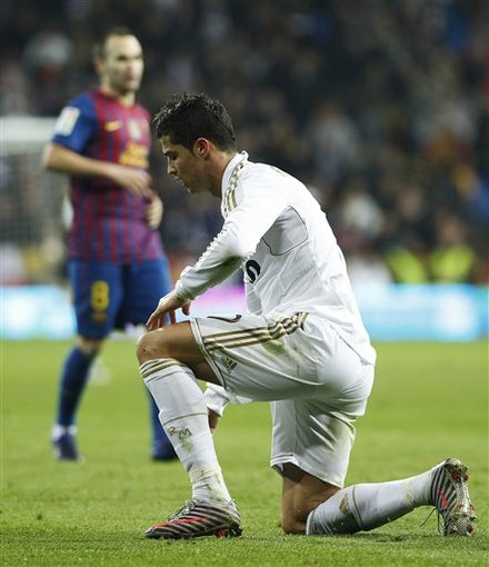 Real Madrid's Cristiano Ronaldo From Portugal, Right, Gestures